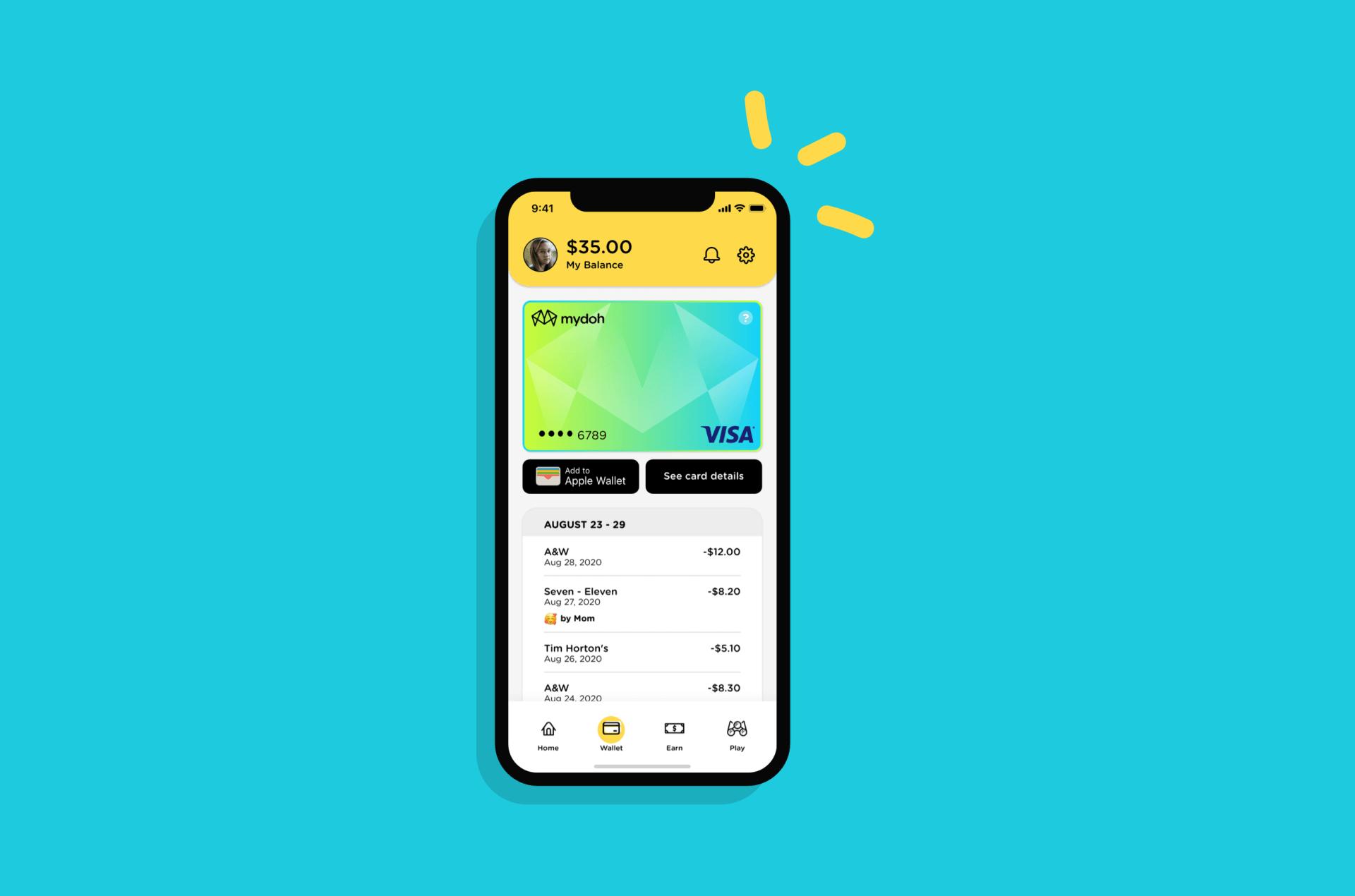 A teenage girls digital wallet balance being shown on the Mydoh money app