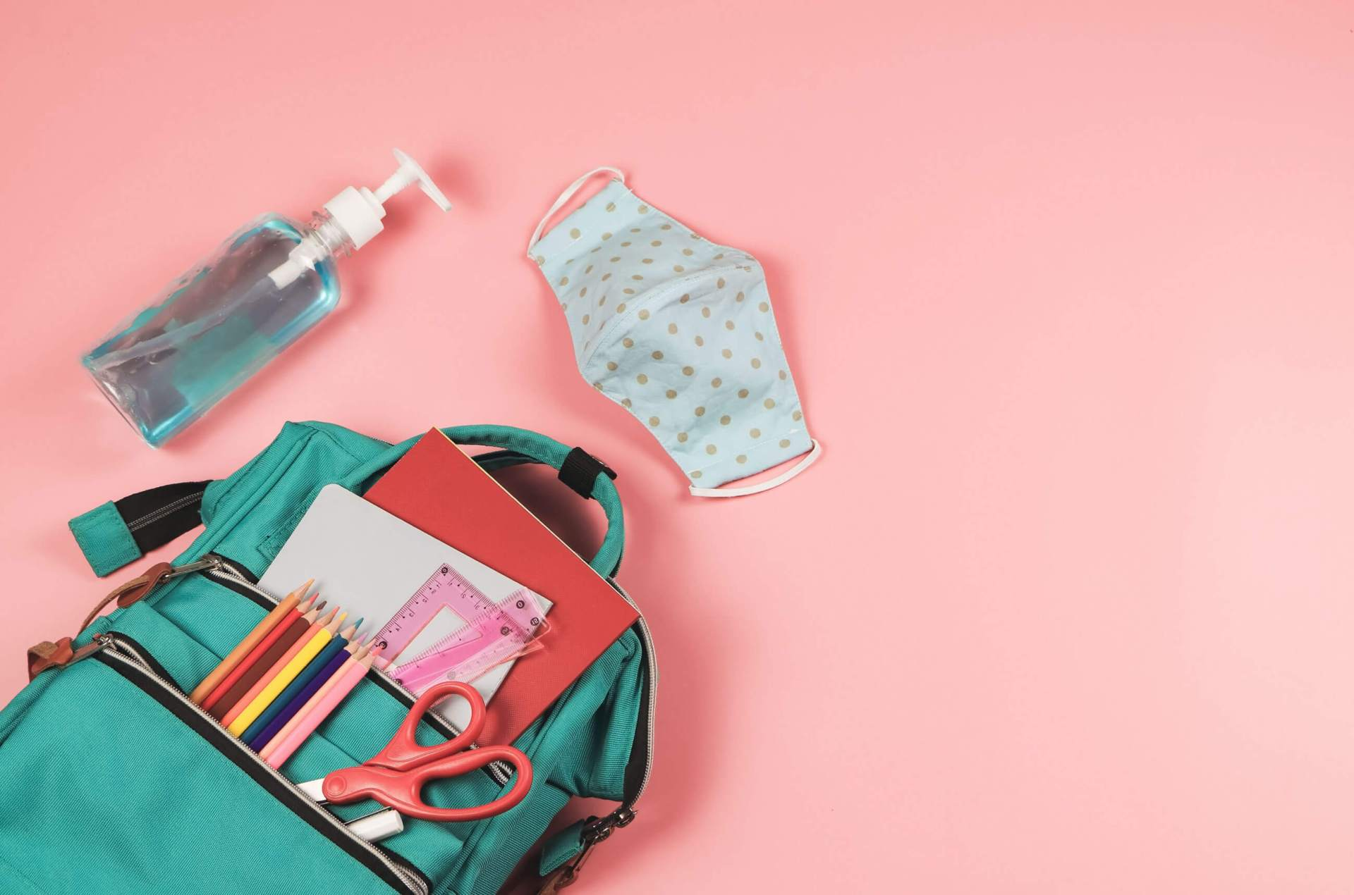 Backpack, mask and hand sanitizer