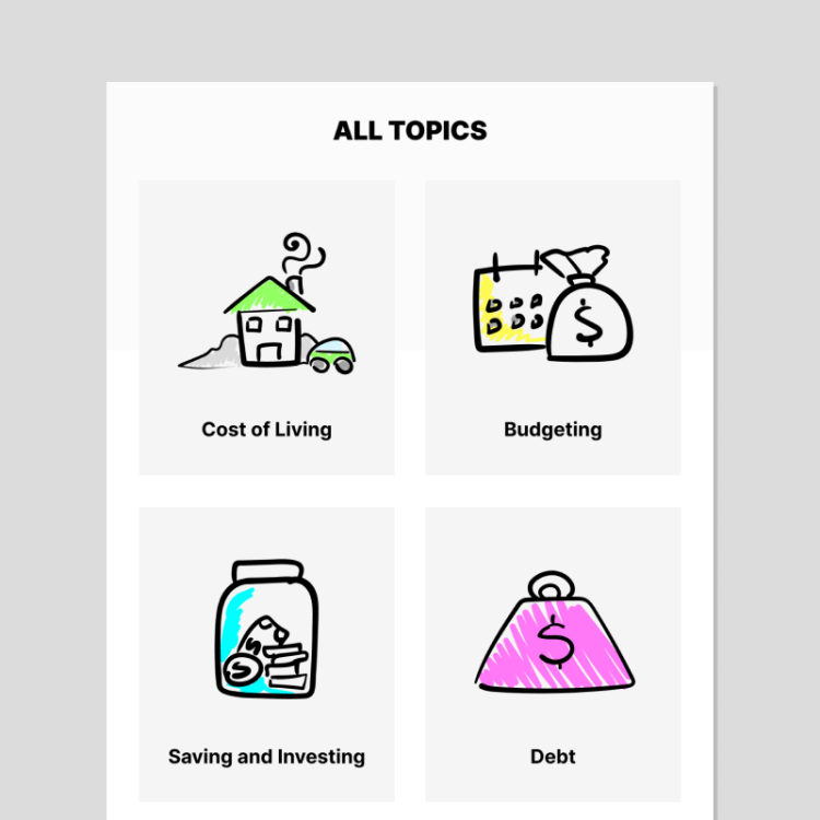 Articles and guides on cost of living, budgeting, saving and investing, and debt in the Mydoh app