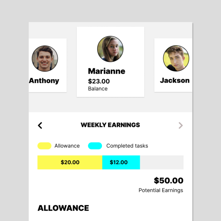 Weekly earnings from allowance and chores being shown in the Mydoh app