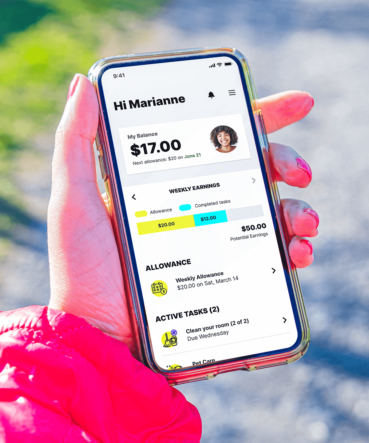 A teenagers Mydoh digital wallet balance being show on a phone