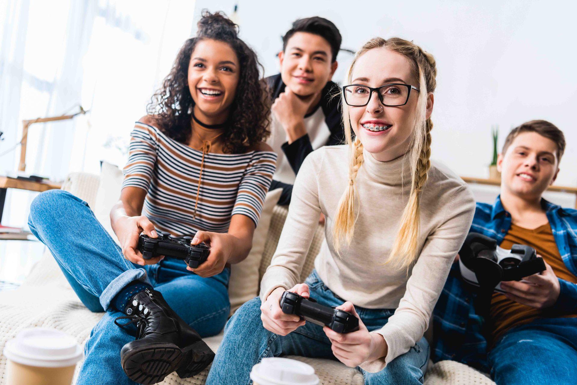 Group of teens gaming